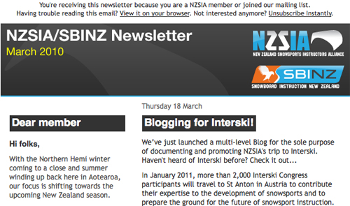HTML Newsletters for NZSIA