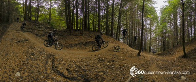 Panorama of jump at Queenstown Bike Park
