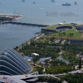 Gardens by the Bay and the bay itself