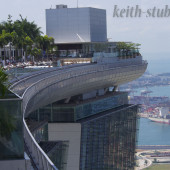 The Marina Bay Sands Hotel and the view from their pool!