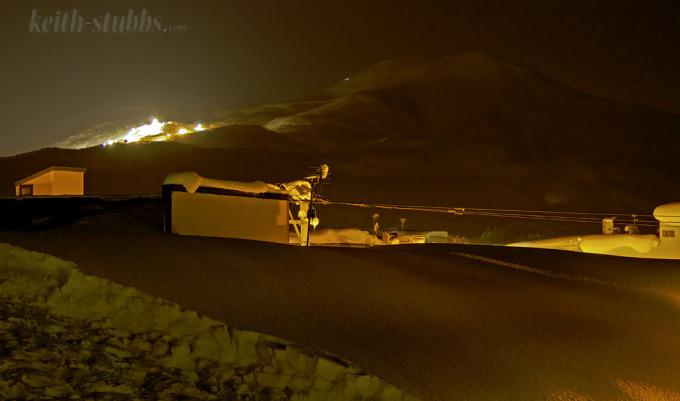 Niseko United ski resort from the local Japanese town Kutchan