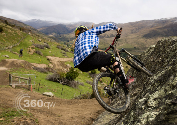 Wall ride at the new bike park in Cardrona Valley