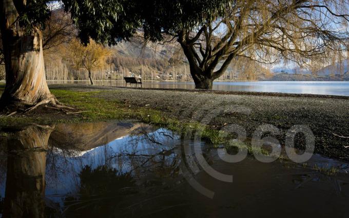 Mountain reflections on Lake front Wanaka