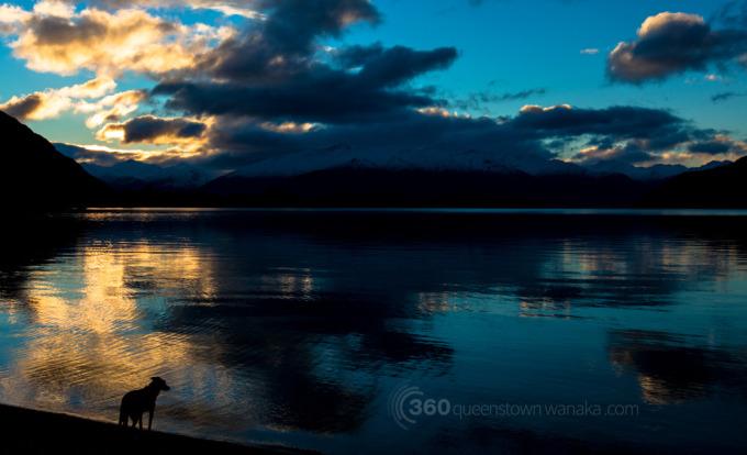 Moody skies at sunset on Lake Wanaka