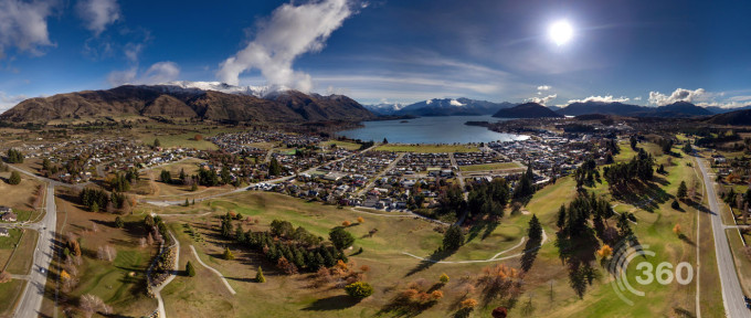 aerial panorama over Wanaka