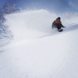hokkaido powder sprays snowboarding, keith stubbs